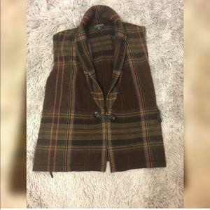 Ralph Lauren brown plaid vest plaid toggle closure